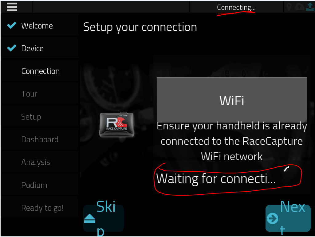 RaceCapture Wizard Wi-Fi Connecting