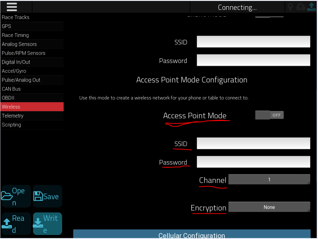 Wireless status after long wait on Wizard Wi-Fi connection, clicking on SKIP to exit wizard